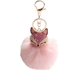 Faux Rabbit Fur Pompoms Keychain