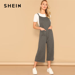 Spaghetti Strap Pocket Patched Jumpsuit