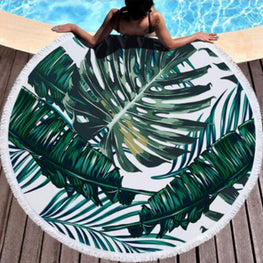 Summer Leaf Round Beach Towel