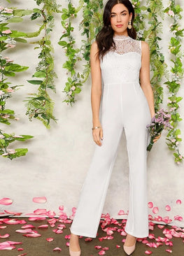 White Lace Bodice Tailored Jumpsuit