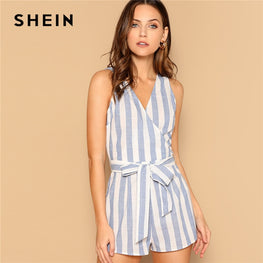 Surplice Neck Striped Belted Romper