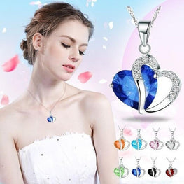 Fashion Women Heart Crystal Necklaces