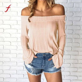 Sweater Women Long Sleeve Off Shoulder
