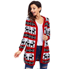 Cardigan Coat Reindeer Geometric