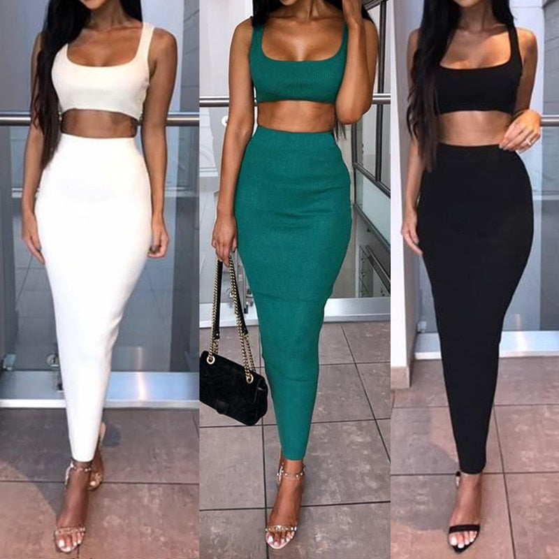 Crop Tops Skirt Matching Set