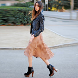 Euro Style Midi Pleated Skirt