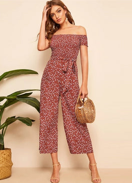 Rust Shirred Bodice Belted Floral Jumpsuit