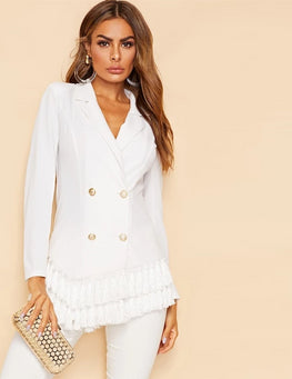 Elegant White Notched Collar Blazer