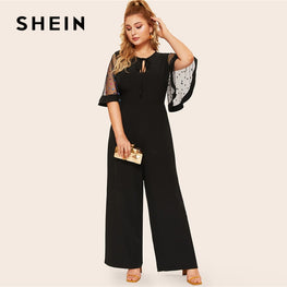 Tie Neck Sequin Mesh Flutter Jumpsuit