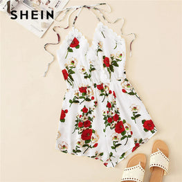 Lace Trim Knot Backless Floral Halter