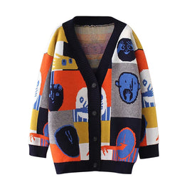 Women Fashion Cartoon Jacket Doodle Sweater