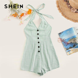 Knot Halter Single Breasted Summer Romper