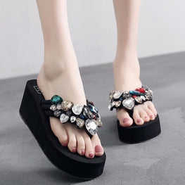 Solid Wedges Crystal Flip Flops Sandals