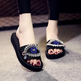 Fashion Anti-Slip Hand-made Eyes Crystal Wedges