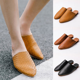 Women Weaving Pointed Toe Flip Flop Casual Shoes