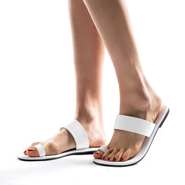Leather Fashion White Solid Flat Slippers