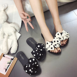 Women Bow Polka Dot Flat Slipper