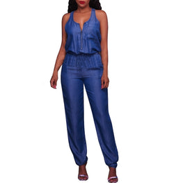 Denim Blue Women jumpsuits Pocket Lace-up