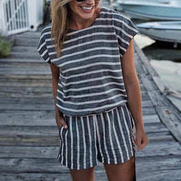 Striped Loose Playsuit Bodysuit Rompers
