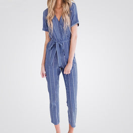 Short Sleeved Cotton Linen Striped Jumpsuit