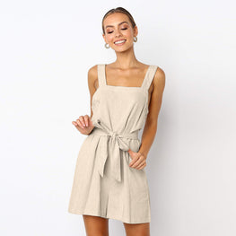 Women Casual Linen Sleeveless Rompers