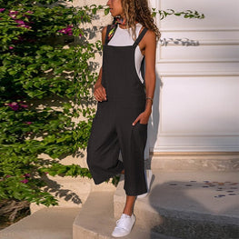 Ladies Casual Sleeveless Dungarees Loose Playsuit