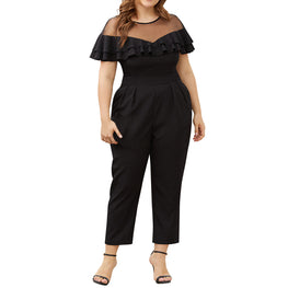 Women's Plus Size Mesh Stitching Jumpsuit