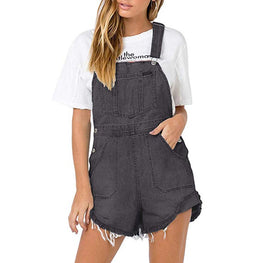 Women's Jumpsuit Denim Bib Loose Fringe