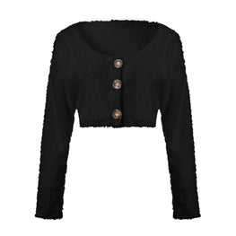 Fashion Long Sleeve Button Deep Sweater
