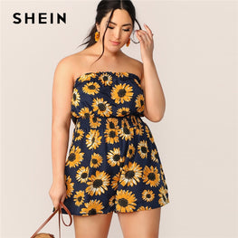 Sunflower Print Shirred Tube Romper