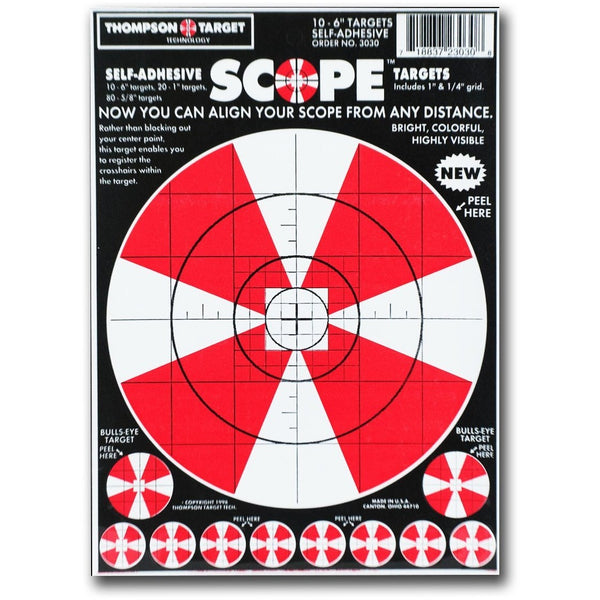 "Scope Alignment 6""X9"" Adhesive Peel & Stick Targets - 10 Pack (3030) (TMP-TR-019)"