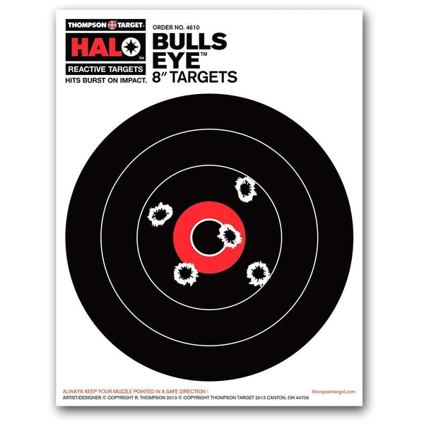 "HALO Bullseye 8"" Reactive Shooting Targets - 8.5""X11"" - 10 Pack (4610) (TMP-TR-009)"
