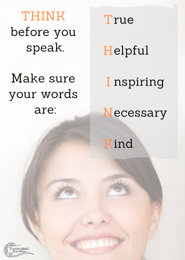 Think before you speak (High School) - Printable Poster