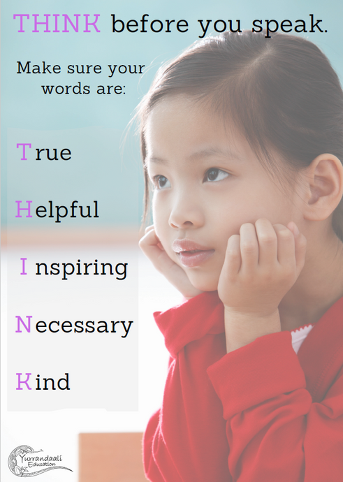 Think before you speak (Primary 1) - Printable Poster