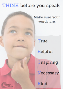 Think before you speak (Primary 2) - Printable Poster