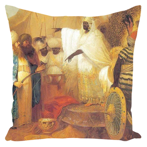 AN ETHIOPIAN KING WELCOMING ENVOYS FROM PERSIA - Throw Pillows - Njadaka
