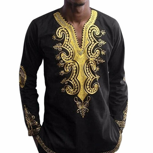 Njadaka Mens Geometric African Dashiki Graphic Long Sleeve Top - Njadaka