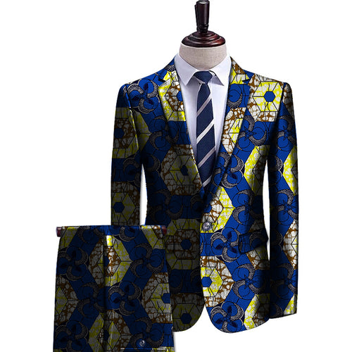 African Dashiki Print Blazer And Pant 2 Pieces Set Men Blazers African Ankara Suit Jacket - Njadaka