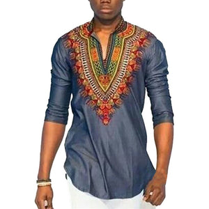 Njadaka Dashiki African National Style Printing V-neck Long Sleeve Men's Size L-3XL - Njadaka
