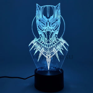Black Panther Action Figure 3D  LED RGB Lighting - Technology - Njadaka