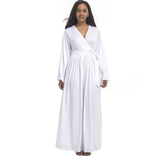 Long Sleeve White Dress - up to Plus Size 3XL - Women - 5 Colors - Njadaka