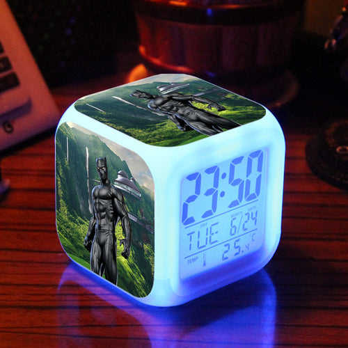 Black Panther Alarm Clock with Led Light - Action Figure - Njadaka