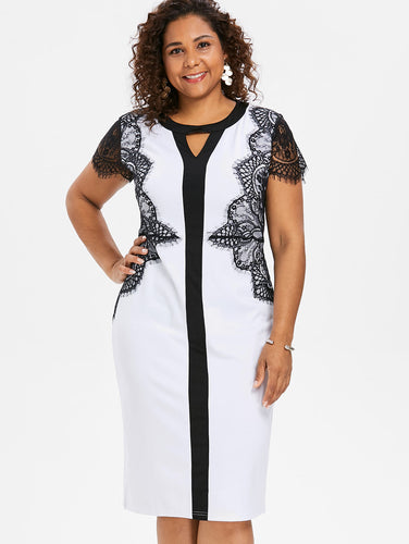 White Dress with Lace - up to Plus Size 5XL