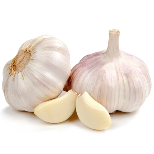two garlic bulbs and 2 pealed garlic cloves