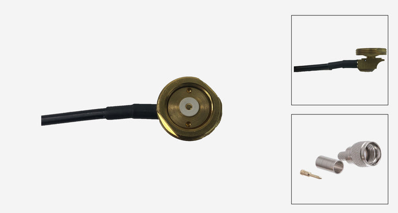 Brass 3/4 Inch Thru-Hole NMO Mount with 17 Ft. RG-58/U Cable with Mini UHF Male Connectors
