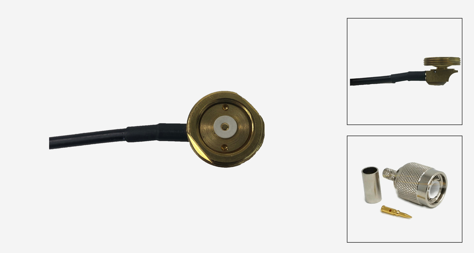 3/4 Brass Thru-Hole NMO Mount with 17 Ft. RG-58/U Cable and TNC Male Connector