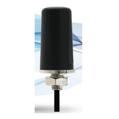 3.24 Inch Black Salt Shaker LTE Antenna High Gain IP67 698-960/1700-2700 MHz 10 Ft. Cable Standard SMA Male Connector