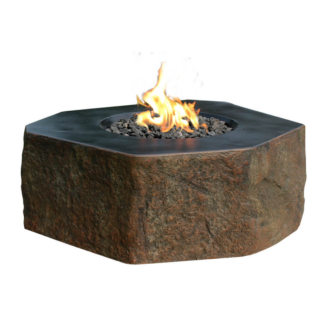 Concrete fire pit in an abstract hexagon shape