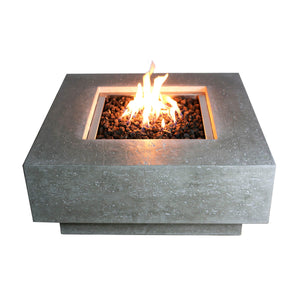 Contemporary square concrete fire pit table