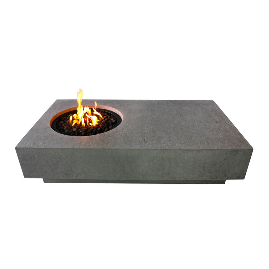 Contemporary rectangular concrete fire pit table